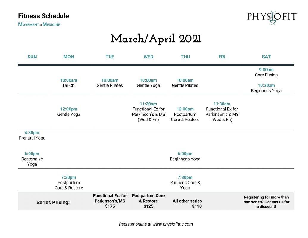 March/April 2021 Fitness Calendar