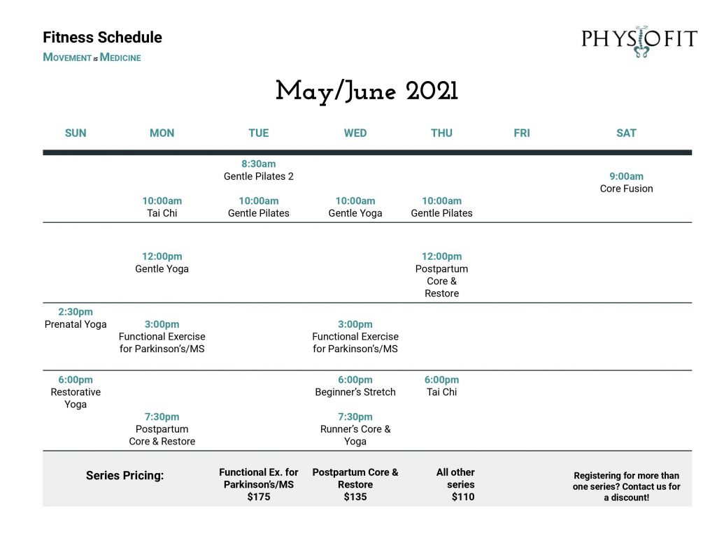 May/June 2021 Schedule