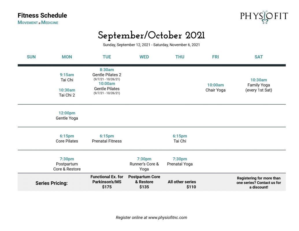 September/October Fitness Schedule