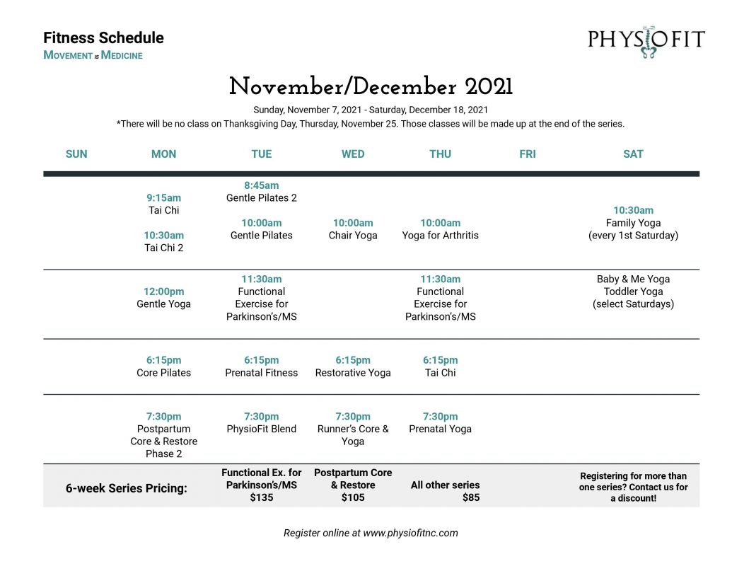 November/December Fitness Schedule